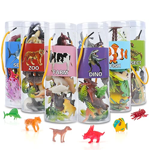 91 Pieces Mini Animal Figure Toys Includes Farm Zoo Safari Dinosaur Insect Ocean Animals, Realistic Plastic Assorted Figurines Playset, Learning Party Favors Toys for Kids Toddlers Boys Girls Ages 3+