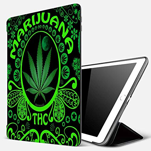 iPad 9.7 inch 2017/2018 Case/iPad Air/Air 2 Cover,3D Pattern Print Green Marijuana Leaf Flag Weed,PU Leather Shockproof Shell Stand Smart Cover with Auto Wake