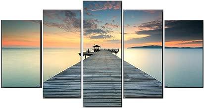WBMKH evening sea sunset bridge beach poster wall art canvas painting home decor seaview seascape Landscape painting mural home decoration landscape painting