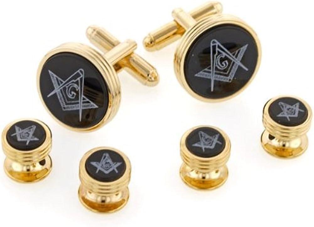 JJ Weston Onyx Etched Masonic Tuxedo Cufflinks and Shirt Studs. Made in the USA.