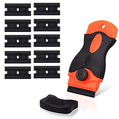 CANOPUS Plastic Razor Blade Scraper with 10 Double Edged Plastic Replacement Blades, Suitable to Remove Glue, Stickers, Decals, Gaskets, Auto Window Tint Vinyls, Black-Orange