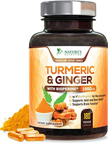 Turmeric Curcumin with BioPerine & Ginger 95% Curcuminoids 1950mg - Black Pepper for Absorption, Made in USA, Natural Immune Support, Turmeric Ginger Supplement by Natures Nutrition - 180 Capsules