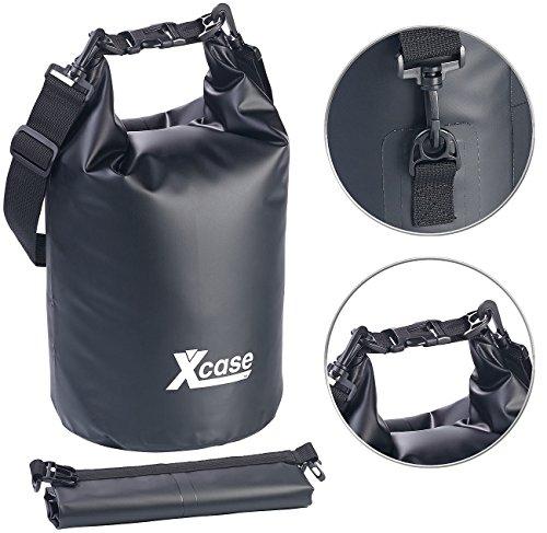 Xcase Rucksack wasserdicht: Wasserdichter Packsack, strapazierfähige Industrie-Plane, 10l, schwarz (Wasserdichter Beutel Outdoor)