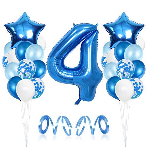 4 Compleanno Decorazioni, Palloncino Numero 4, Decorazione Festa di Compleanno per Bambini Kit Blu, 4 Anno Anniversario Decorazioni Festa Compleanno Ragazzo