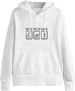 VEMOW Sudadera Encapuchado Mujer Casual Manga Larga Impresión Parte Superior Camisa de Entrenamiento Pullover Tops Blusa C...