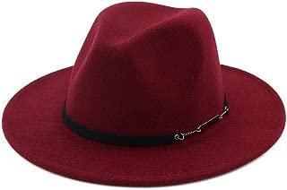 Wide Brim Gangster Trilby Felt Jazz Hat Vintage Women Men Wool Felt Water Repellent Outback Fedora Hat (Color : Wine red, Size : 56-58)