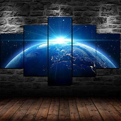 Impresión En Lienzo 5 Piezas Cuadro Sobre Lienzo,5 Piezas Cuadro En Lienzo,5 Piezas Lienzo Decorativo,5 Piezas Lienzo Pintura Mural,Regalo,Noche Planeta Tierra Espacio Estrella,Decoración Hogareña