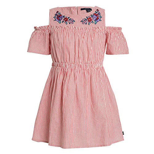 Nautica Girls' Toddler Shoulder Fashion Dress, Stripe Cold Red, 2T