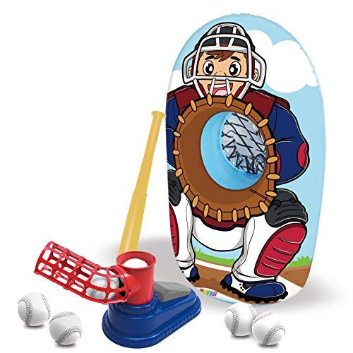 JOYIN Step-On Baseball Pitching Machine Toy Set with 1 Baseball Pitch Toy, 1 Plastic Baseball Bat, 1 Inflatable Baseball Catcher Trainer, and 6 Baseball Plastic Balls, for Kids Baseball Yard Game