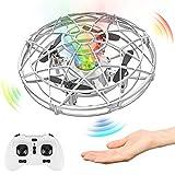 Baztoy UFO Mini Drone, RC Helicopteros Teledirigidos & Control de Mano de 360° Rotación con Luces LED, Juguete Volador...
