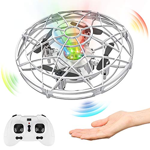 Baztoy UFO Mini Drone, RC Helicopteros Teledirigidos & Control de Mano de 360° Rotación con Luces LED, Juguete Volador Mini Dron Juguete para Niños 3 4 5 6 7 8 9 10 11 Años Regalos Navidad Cumpleaños