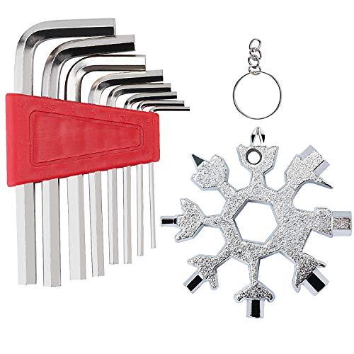 Edelstahl Multifunktionswerkzeug Set - 18-in-1 Schneeflocke Multi-Tool Karte und 8-tlg Innensechskantschlüssel, Fahrrad Schraubendreher Flaschenöffner Ringschlüssel Sechskantschlüssel Outdoor