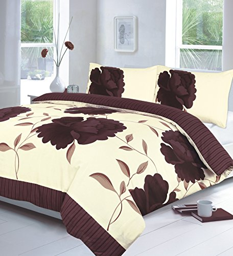 Hendem Rosaleen Duvet Cover With Pillow Case Modern Bedroom Floral Quilt Cover Flower Print Bed Linen (Double, Chocolate)