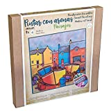 ARENART   1 Blatt mit Segelschiff Motiv 38x38cm   mit farbigem Sand malen   Kunsthandwerk für Erwachsene und Jugendliche Einfaches Zeichnen   Malen nach Zahlen   +9 Jahre