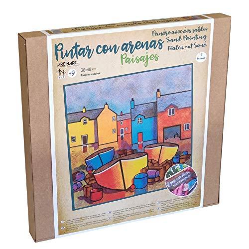 Arenart   1 Lámina Barcos Marineros 38x38cm   para Pintar con Arenas de Colores   Manualidades para Adultos y Jóvenes   Dibujo Fácil