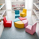 Childrens Leather Chair Baby Toddler Cute Sectioal Sofa Chair Soft Preschool Playroom Seating Sofa Chair Stool Furniture Red, Pink, Yellow, Blue(8 Piece Kids sectional Sofa)