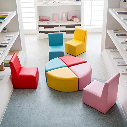 Kinbor Childrens Leather Chair Baby Toddler Cute Sectioal Sofa Chair Soft Preschool Playroom Seating Sofa Chair Stool Furniture Red, Pink, Yellow, Blue(8 Piece Kids sectional Sofa)