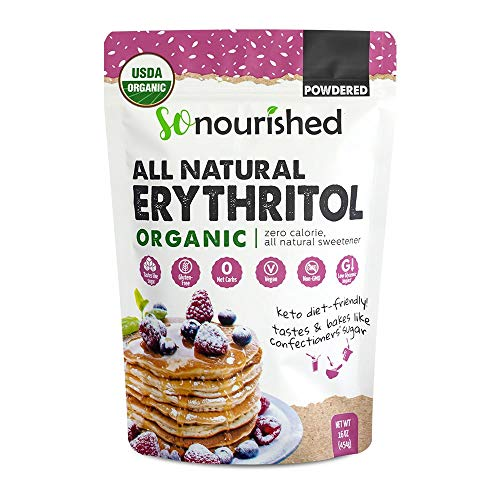 Organic Powdered Erythritol Sweetener - 1:1 Sugar Substitute, Keto - 0 Calorie, 0 Net Carb, Non-GMO (1 lb / 16 oz)