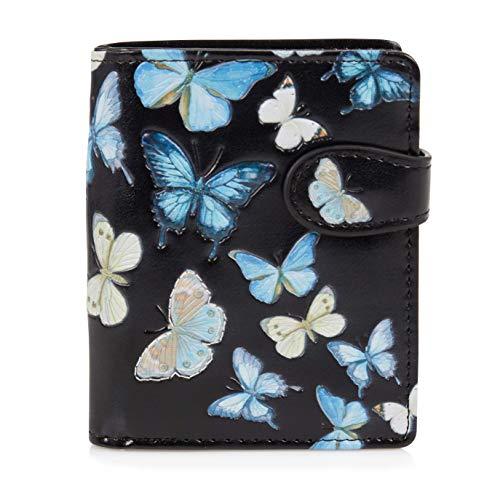 SHAGWEAR ® Portemonnaie Geldbörse Damen Geldbeutel Mädchen   Bifold Mehrfarbig Portmonee Designs: (Schmetterling Schwartz/Butterflies)