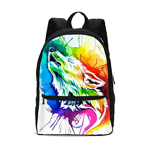 FeHuew Tie Dye Howl Wolf Kids Backpack for Girls School Bookbag 17 Inch Plus Laptop Bag Casual Daypack Shoulder Bag Unisex 1-5th Grade