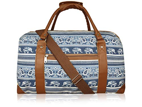 15 Colours Canvas Travel Holdalls - Weekend Overnight Bags - Medium Size Holiday Duffle Bag - Ideal Womens Ladies Gym Holdall - Hand Luggage Cabin Baggage 50cm x 30 x 25, 35L QL216M (Navy Elephants)