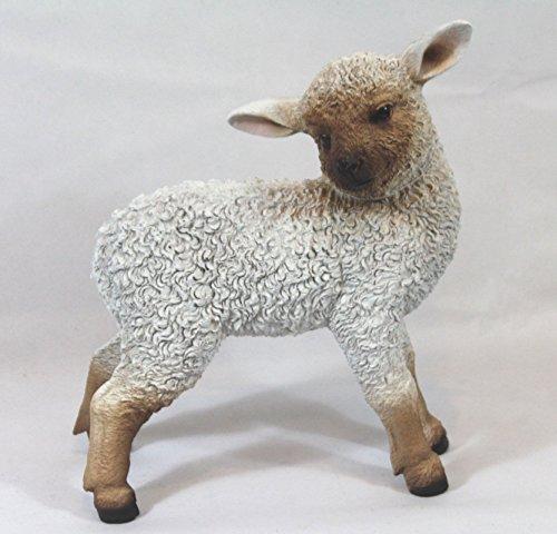 FDSt Dekofigur Schaf stehend Lamm, Lämmchen Tierfigur, Türdeko Gartenfigur Weiß Braun