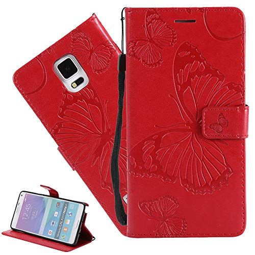 ISADENSER Compatible with Samsung S5 Case Galaxy S5 Case Butterfly Embossing [Kickstand Flip] [Card Slot] [Magnetic Clasp] Flip Phone Case for Samsung Galaxy S5 Red Butterfly KT