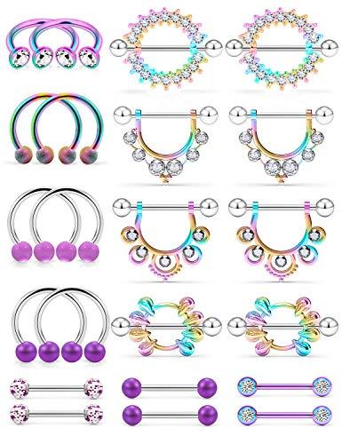 Kridzisw 14G Nipple Rings for Women Nipple Piercings Nipple Jewelry Nipple Barbells Stainless Steel Nipple Tongue Nipplerings Shield Ring Piercing Body Jewelry CZ Round Shape for Women silver