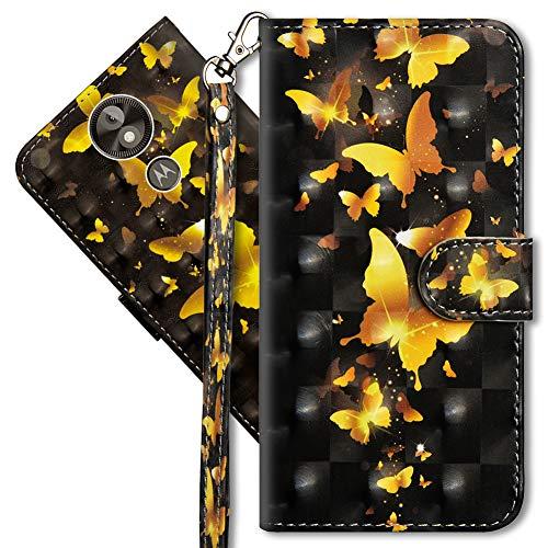 MRSTER Moto E5 Play Go Handytasche, Leder Schutzhülle Brieftasche Hülle Flip Hülle 3D Muster Cover mit Kartenfach Magnet Tasche Handyhüllen für Motorola Moto E5 Play Go. YX 3D - Golden Butterfly
