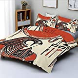 Juego de funda nórdica, papiro con estampado gráfico Mod con símbolo del idioma egipcio antiguo Lámina vintage ArtDecorative Juego de cama de 3 piezas con 2 fundas de almohada, crema roja, el mejor re