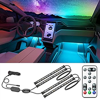 Govee Interior Car Lights Interior Car LED Lights with Remote and Control Box Two-Line Design RGB Car Interior Light with 32 Colors Music Sync for Various Car DC 12V