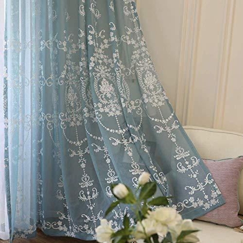 HHJJ Cortinas transparentes en gasa bordadas con anillos. Cortina moderna para ventana, cortinas de tratamientos, salón, invitado, 1 cama -66531Y3U3Z (color: azul, tamaño: 400 x 270 cm)
