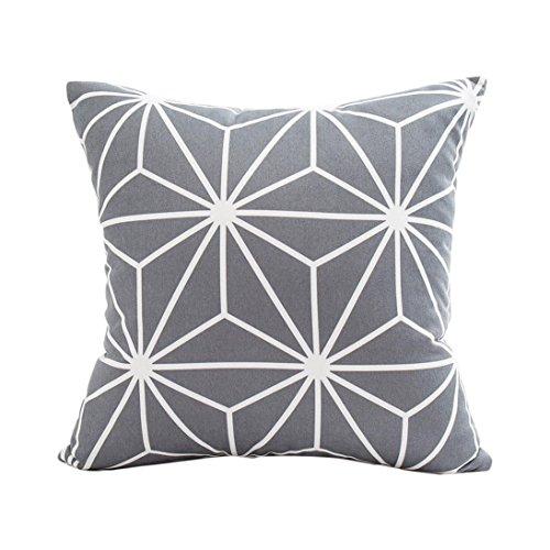 Winkey - Taie d'oreiller carrée pour voiture, décoration d'intérieur, housse de coussin dimensions : 30 x 50 cm., Polyester, gris, 43 x 43 cm