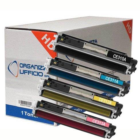4pz x Toner Colore Compatibile CE310A+HPCE311A-CE312A+CE313A, Nero+Ciano+Magenta+Giallo, Stampanti Laserjet Pro M175NW, M175A, CP1025, CP1025NW, M275, LBP 7010C, 7018C - Set Completo
