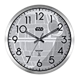 Sharp Star Wars Death Star Atomic Wall Clock- 12' Silver Brushed Finish - Sets Automatically- Battery Operated - Easy to Read - Easy to Use