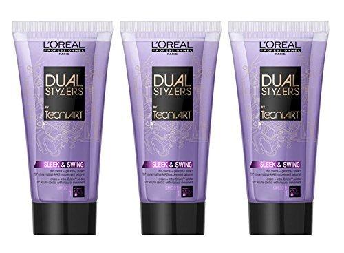 Loreal Sleek & Swing 3 x 150 ml Dual Stylers Tecni.art Smooth Glättung für kräftiges & widerspenstiges Haar by L'Oréal Paris