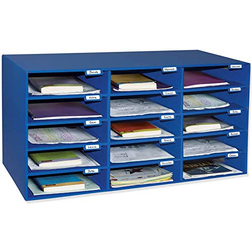 Classroom Keepers Mailbox, 15-Slot, Blue, 16-3/8'H x 31-1/2'W x 12-7/8'D