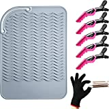 Heat Resistant Styling Mat Curling Iron Mat with Heat Resistant Glove and Non Slip Large Hair Clips for Styling Hair Straightener Flat Iron and Curling Iron (Gray Mat)