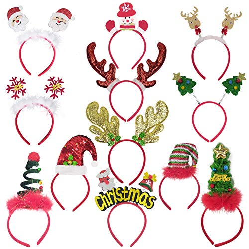12 Pack Christmas Headbands, Fancy Elf Reindeer Antlers Xmas Tree Bells Santa Hat Headbands for Kids Adults Party Favors