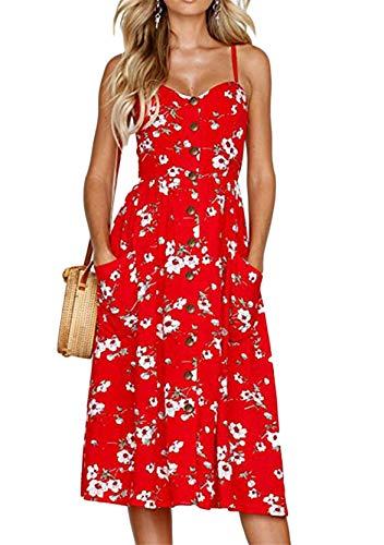 Yming Damen Partykleid mit V-Ausschnitt Midikleid Lässiges Sommerkleid Spaghettikleid Rot M
