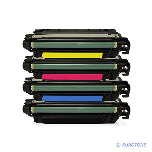 ReWinTone kompatibler Cartridge für Color Laserjet CM-3530, CP-3525 Patronen ersetzen HP 504A CE250A CE251A CE252A CE253A Patronen im Bundle Original EUROTONE (ISO-Norm 19798)