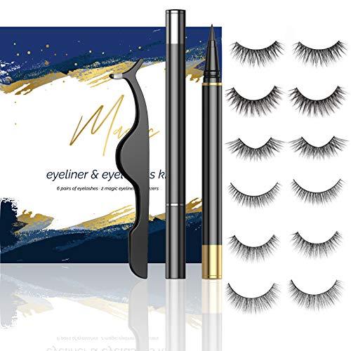 Falsche Wimpern Eyeliner Set Gelfreiem Kein Magnet 6 Paare 3D Falsche Wimpern und Zwei Eyeliner (Transparent + Schwarz) Künstliche Wimpern Wasserdicht Langlebigem Natürliche Weiche Wiederverwendbar