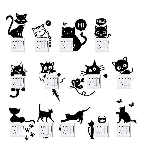 Foonii 13 Pezzi Interruttore Adesivi, DIY Removibili Impermeabile Camera da Letto Soggiorno Interruttore Spina Stickers Murali, Vinile Adesivi Decalcomanie Art Decorazione Murale Wall Stickers (Nero)