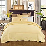 Tache Home Fashion YELLEMDES-King 3 Piece Buttercup Puffs Bedspread Set, Yellow