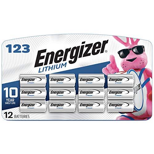 Energizer 123 Lithium Batteries, 3V CR123A Lithium Photo Batteries (12 Battery Count)