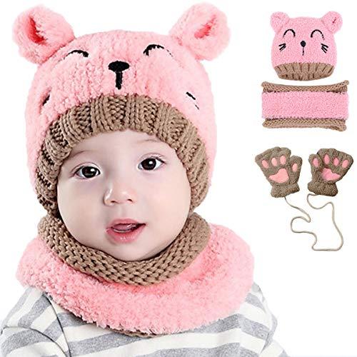 INSANY Bufandas del Bebé Invierno Gorro de Punto y Guantes,Juego de 3 Piezas Cálido Sombrero Bufanda de Punto Niños Niñas(Rosa/Beige)