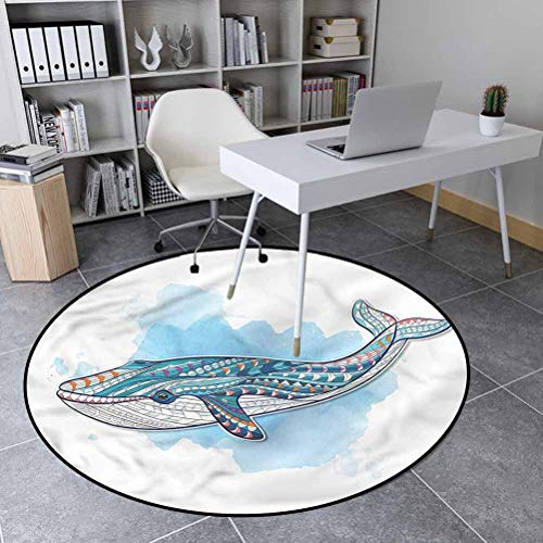 Whale Polyester Geometric Area Rug Kids Play Rug, Round Tribal Tattoo Style Ornaments 5' in Diameter