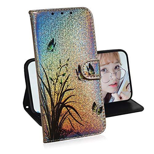 Glitzer Brieftasche Hülle für Samsung Galaxy S7 Edge,Miagon Änderung Farbe Tier Gemalt PU Leder Faltbare Flip Case mit Kartenhalter Standfunktion,Schmetterling Orchidee
