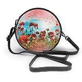 Bolso bandolera de cuero redondo con decoración de prado de flores de amapola roja, bolso de mano, bolso de mensajero para mujer