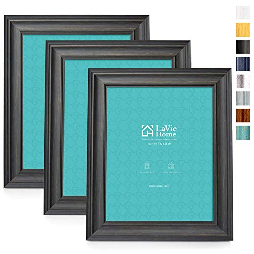 LaVie Home 8x10 Picture Frames (3 Pack, Black Wood Grain) Rustic Photo Frame Set with High Definition Glass for Wall Mount & Table Top Display